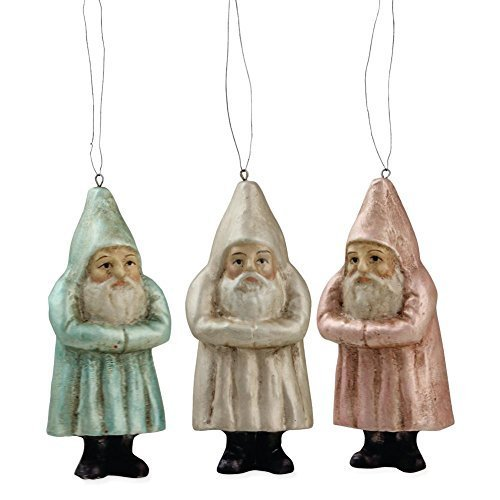 Bethany Lowe Pastel Belsnickel Santa Ornaments, Set of 3 Colors
