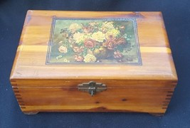 Vintage Wood Hinged Dresser Jewelry Trinket Box With Floral Decal - $12.00