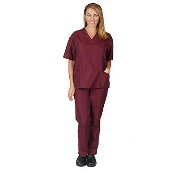 Burgundy VNeck Top Drawstrng Pants XS Unisex Medical Natural Uniforms Scrub Set