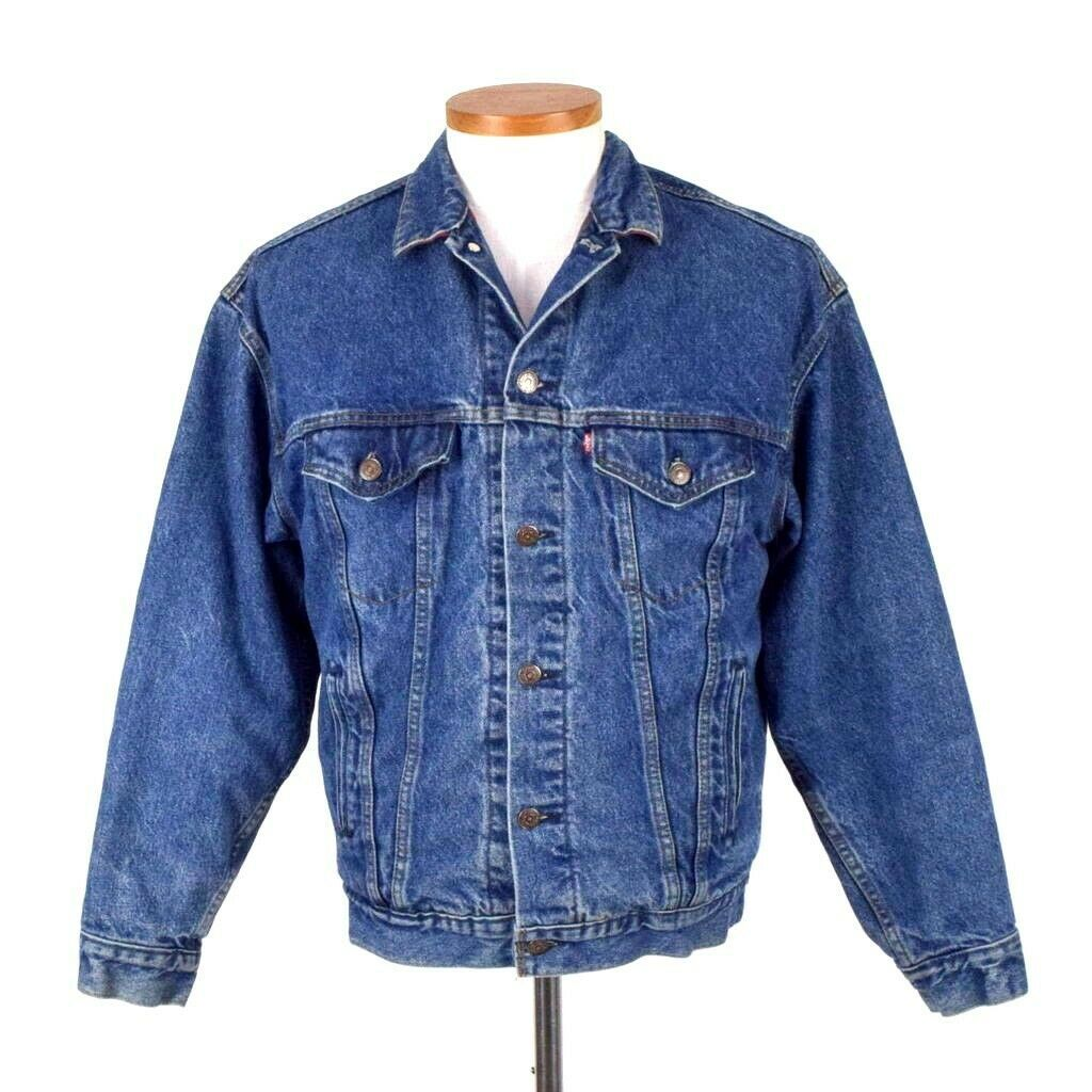 Primary image for Vtg 80s Levis Jean Jacket Blue Denim Buffalo Plaid Lined Flannel Button Mens M