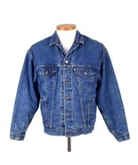 Vtg 80s Levis Jean Jacket Blue Denim Buffalo Plaid Lined Flannel Button ... - $84.14