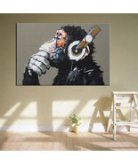 Canvas Printed Animal Monkey Headphone Painting Modern Wall Art Home Roo... - $19.00+
