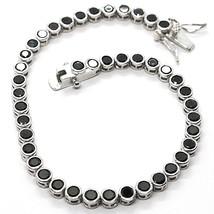 Armband Tennis, Silber 925, Zirkonia Kubische Schwarze, Brillantschliff,... - $46.00