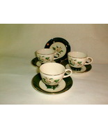 Homer laughlin jade rose coffee cups saucers VG 7 pcs vintage lifetime c... - $28.00