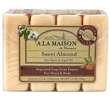 A La Maison Soap Bars, Sweet Almond, Value Pack 3.5 oz, 4 Count - $16.48