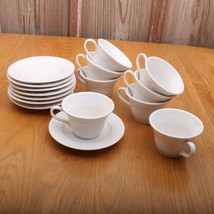 8 Homer Laughlin Cups and Saucers White Raised ... - $65.44