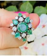 WOW Vintage Retro 1950s Estate 18k Gold 4.00ct Emerald Diamond Cluster R... - $1,777.05