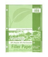 ECOLOGY RECYCLED FILLER PAPER 150SH  - $5.99