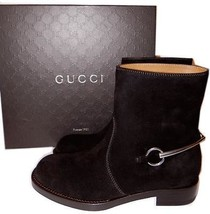 $975 Gucci Ankle Boot Susan Riding Motorcycle Brown Leather Boot Bootie ... - $525.00