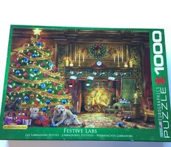 Festive Labs EuroGraphics Jigsaw Puzzle 1000 Pcs Dogs Christmas Complete 19 x 26 - $17.95