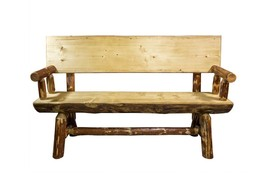 Half Log Bench With Back and Arms REAL Log PINE Outdoor Bench 5ft Amish ... - £736.86 GBP
