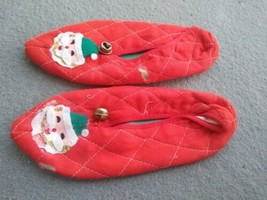 Vintage red  Christmas Santa Bell Slippers unique with bells - $16.90