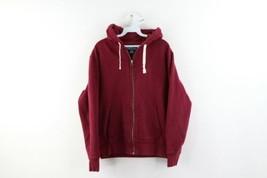Vtg 90s Ralph Lauren Mens Medium Blank Distressed Faded Full Zip Hoodie Maroon - $49.45