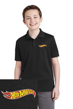 Youth Hot Wheels Embroidered Polo Shirt S M L Xl Xxl Black Dry Fit Polyester - $24.99