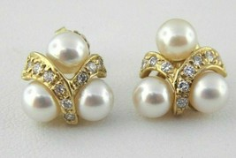 Pearl & Diamond Stud Earrings in 14k Yellow Gold (Dtw 0.36) - $584.09