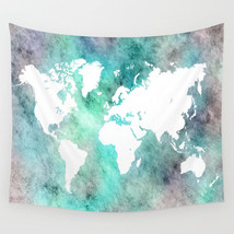 Wall Tapestry Wall Hanging Printed USA Design 62 world map aqua white L.... - $944,33 MXN+