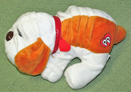 "12"" POUND PUPPIES WHITE TAN STUFFED ANIMAL WITH RED COLLAR HEART TAG HAS... - $14.85"