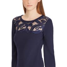 Lauren Ralph Lace-Trim Dress, Size 10, Color Navy - $79.15