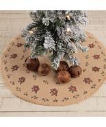 Jute Christmas Flower Burlap Holly Berries Traditional Holiday Tree Skir... - $34.95+