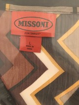 Missoni For Target Brown Yellow Black Zig Zag Print LS Sheer Sweater Top NEW - $45.78