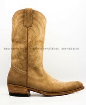 Handmade Men's Camel Suede Cowboy Boots Forefoot Stitching Western Hunte... - €424,26 EUR