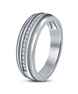 14k White Gold Plated 925 Solid Sterling Silver Mens Engagement Pinky Ri... - $79.97