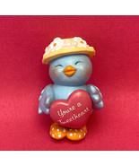 Vintage plastic blue bird figure with pink heart Valentine's Day bluebird - $3.00