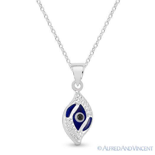 Evil Eye Glass Bead Greek Turkish Nazar Hamsa Pendant Sterling Silver Necklace image 6
