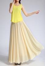 YELLOW High Waist Chiffon Maxi Skirt Women Flowing Long Wedding Bridesmaid Skirt image 2