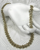 Flexible Link Necklace Fancy Multi Links Gold Plated 1960s Mid Century R... - $28.00
