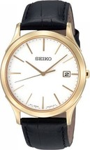 Seiko men, analog, round case, classic, yellow gold case with white dial SGEE08 - $146.52