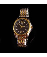 LARGE Mens wrist Watch - stainless & crystals - heavy duty fancy band Wo... - $75.00