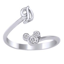 925 Sterling Silver White Gold Plated Diamond Disney Mickey Mouse Initial D Ring - $24.99