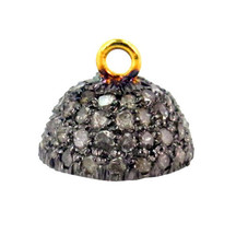 Natural Diamond Pave 925 Sterling Silver 14k Gold Bead Cap Findings Jewelry - $112.20
