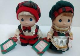 Vtg Precious Moments Mini Doll Set Christmas Outfit Photo Frame Boy Girl... - $28.07
