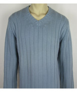 J. Crew 100% Lambs Wool sweater ribbed V-neck pullover Light Blue Mens L - $18.76