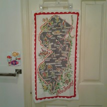 Vintage 1950's New Jersey Souvenir State Map Kitchen Towel Cotton 28 1/2... - $20.55