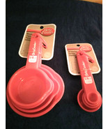 Set Of Measuring Cups and Spoons Red Betty Crocker Dishwasher Safe BPA Free - $9.60
