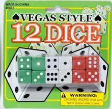Vegas Style Dice Casino 12 Pack Colored Top Quality Free Shipping Fast! - $5.93