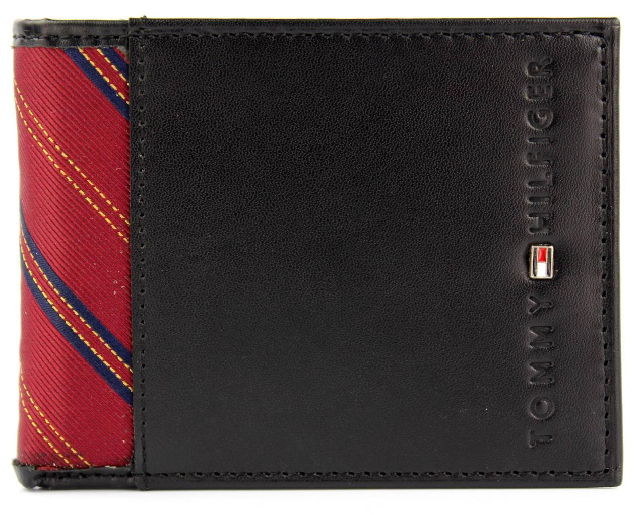 NEW TOMMY HILFIGER MEN'S PREMIUM BLACK LEATHER PASSCASE BILLFOLD WALLET 4272/01