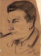 "1945 Sketch of Pvt. Orville E. Hegel by ""Dmitri"", Russian artist in Paris - $34.60"