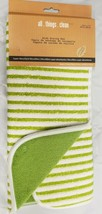 "Kitchen Microfiber Drying Mat (15"" x 19.5"") GREEN STRIPES ON WHITE, MDC - $14.84"