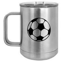 15oz Tumbler Coffee Mug Handle & Lid Travel Cup Vacuum Insulated Soccer Ball - $19.99