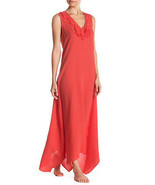 New Natori Sleeveless Maxi Night Gown Dress Embroidered Womens XS Red Or... - $194.35