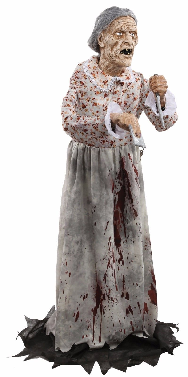 Granny Bates Halloween Prop Lifesize 5 feet Poseable Haunted House Decoration