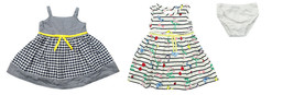 BLUEBERI BOULEVARD INFANT GIRLS 3 PC STRIPED WHITE PLAID BLUE WOVEN DRES... - $24.74