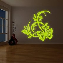 """( 79"""" x 79"""" ) Glowing Vinyl Wall Decal Butterfly and Flowers / Glow in Dark Natu - $352.76"""