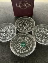 LENOX Glass COASTERS Clear Lead Crystal Set of 4 Original Box Scroll Design - $9.73