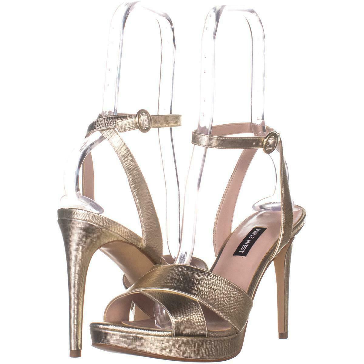 Nine West Quisha Criss Cross Ankle Strap Sandals 021, Light Gold, 8.5 US - $32.25