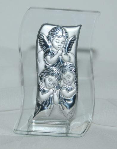 Lorren Home Collection Italian Crystal Argento Silver 3 Angels Icon